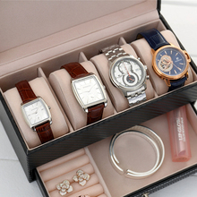 4 Grids High Grade CF Leather Jewelry Storage Box Container Boxes Watch Casket With Drawer Organizer Watch Jewelry Box Display
