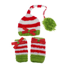 Newborn Christmas Stocking ELF Hats and Leg Warmers Set Crochet Pixie Hat With Legwarmers Girl Photo Props  H182