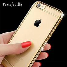 Portefeuille For iPhone 7 Case Gold Frame Diamonds Case Clear Bling Crystal Glitter Rhinestone Cover for iPhone 7 6 6S Plus 5 5S(China)