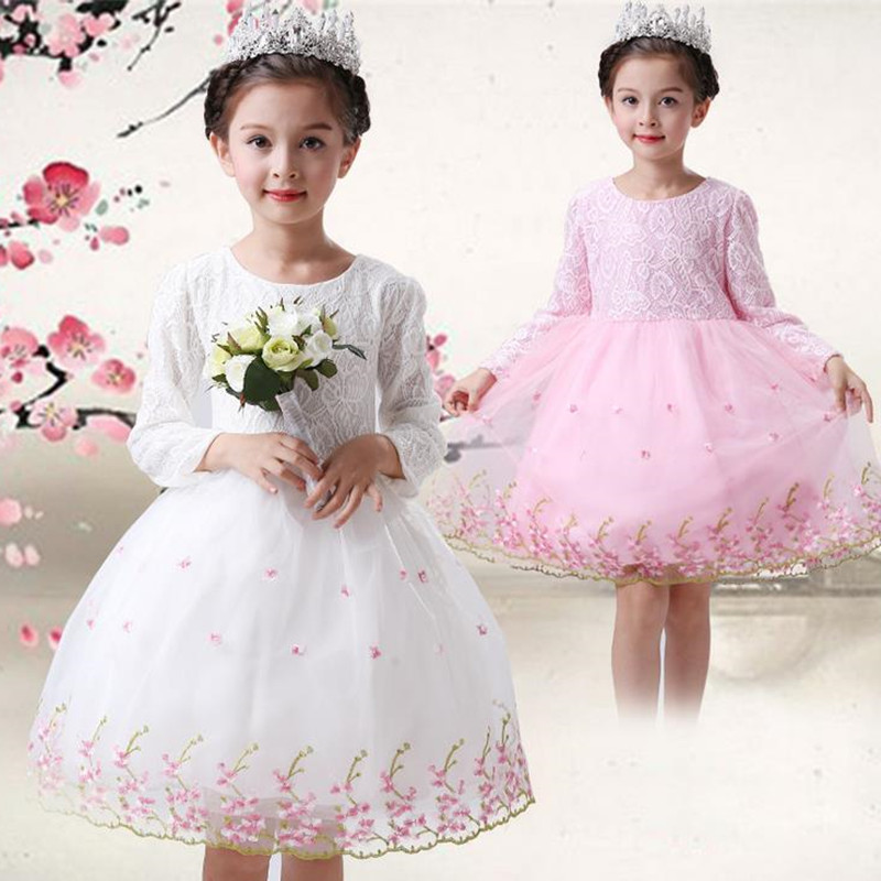 Spring autumn new princess grace girl long-sleeved clothes net birthday party wedding candy pink white tutu 2-10 y elegant dress<br><br>Aliexpress
