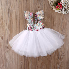 Christmas Fancy Kids Baby Girls Clothing Floral Dress Party Ball Gown Formal Flower Cute Girl Dresses(China)