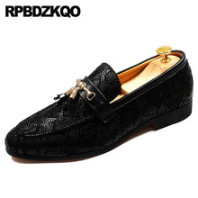 Slip On Loafers Male Metal Python Leather Tassel Snake Skin Black Rubber  Fashion Casual Summer Red Italian Mens Shoes Brands 9359728bcf29