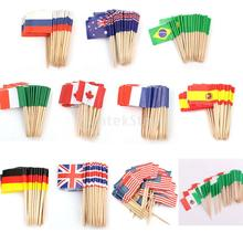50x Canada Germany Britain France Sweden Country Flag Picks Paper Toothpick Food Cupcake Cocktail Decor(China)