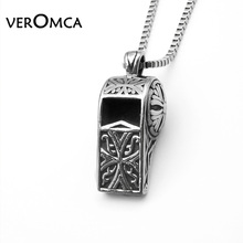 VEROMCA 60cm Length Chain Vintage Steel Color Stainless Steel Whistle Pendants Necklaces For Men free shipping