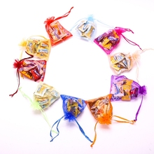 Wholesale 500PCS 7x9 Colorful Organza Drawstring Packing Bags Promotion Pouches Gift Candy Bag for Wedding Cheap Jewelry Pouches