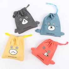 Cartoon bear drawstring beam pocket bag cotton cloth portable storage bag household candy bag girls gift bag article pockets A35