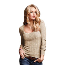 2017 Women Brand Classic Fashion Female pullovers V and O neck Sexy slim sweaters knitted ladies blouses jumpers jersey mujer(China)