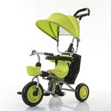folded baby walker with sunroof hot sale child tricycle bicycle with storage basket back handle control direction fashion cart