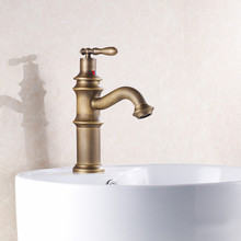 Free shipping low price antique basin sink faucet with single handle antique bathroom mixer tap, solid brass basin sink faucet(China)