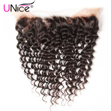 Unice Hair Brazilian Deep Wave Lace Frontal Closure 13*4 Ear To Ear Pre Plucked 100% Human Hair Closure Non Remy Hair(China)
