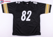Embroidered Logo John Stallworth black throwback high school FOOTBALL JERSEY for fans 1228-4(China)