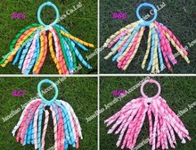 free shipping 200pcs korker ponytail holders streamer to corker pony streamer colorful girl hair bows(China)