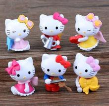 6pcs artificial hello kitty fairy garden miniatures mini gnomes moss terrariums resin crafts figurines for garden decoration