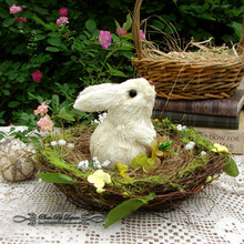 2016 New Straw Easter Cute Bunny Home Furnishing Articles Use For Holiday Gift Free Shipping