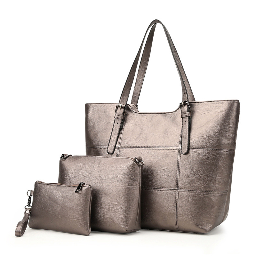 ITSCOSY Women Fashion Pu Leather Handbags 3 Piece Set Bags Large Size Tote Bag for Women with Adjustable Shoulder Strap<br>