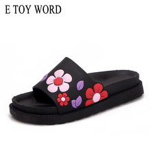 E TOY WORD Summer 2018 New Rome Ladies Slippers Flat Word Drag Pure Color Fashion Flowers Ladies Cool Mop Slides(China)