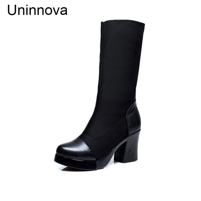 Uninnova Womens Genuine Leather Winter Crystal Boots Stretch Fabric Bootleg Small Size 33 Plus Size 42 WB018<br>