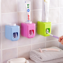 Adhensive Automatic Toothpaste Dispenser Toothbrush Holder bathroom Products toothbrush dispenser Bathroom Accessories Set(China)