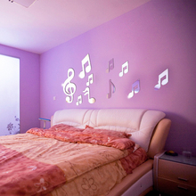 musical notes Bedroom nightstand home decoration Acrylic patch Creative mirror wall stickers poster stickers home accessorie(China)