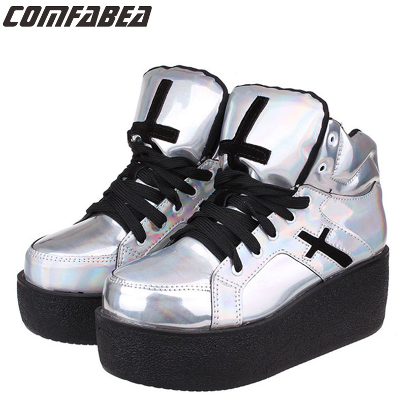 Womens ladies high platform wedge goth punk creepers ankle boots fashion autumn winter silver hologram Woman HARAJUKU shoe<br><br>Aliexpress