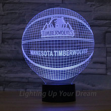 Minnesota Timberwolves 3D Illusion Night Light Basketball NBA Ball Lamp As Boys Gift 7Colors Changed USB Power LED Light