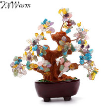 KiWarm 6 Inch Multi colored Feng Shui Aventurine Crystal Quartz Gem Stone Money Tree for Wealth Money Home Ornament Holiday Gift