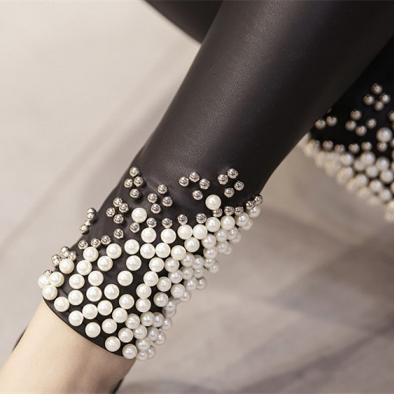 New-Brand-Women-Leggings-Faux-Leather-Thick-Warm-Legging-High-Waist-Stretch-Skinny-Beads-Pearl-Pencil (1)