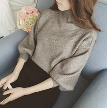 Factory direct semi batch turtleneck sweater female winter bubble sleeve loose and long sleeve shirt was thin