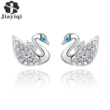 2017 Fashion New Hot Popular Luxury Zircon Little Swan Stud Earrings Elegant Silver Color Earrings for Women with free gift box(China)