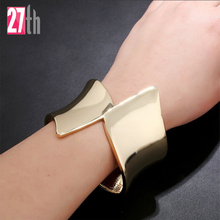 NewArrival Fashion Exaggerated Runway Brand Jewelry PUNK Hollow Metal Cube Three-Dimensional Hand Cuff Bangle Bracelet For Women