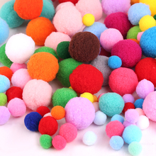 100pcs/lot 1+2+3cm Mix Mulit Color Pompom Fur Craft DIY Soft Pom Poms Balls Wedding/Home Decoration Sewing On Cloth Accessories