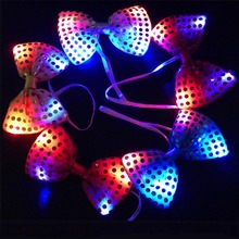2017 NEW Woman Girls Men Boy Fun LED light up Flashing Sequin Bowknot Bow Tie Fancy Dress Wedding Decoration Party Supplies
