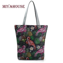 Buy Miyahouse Embroidery Flamingo Printed Shoulder Bag Lady Colorful Canvas Tote Handbag Female Large Capacity Women Shopping Bag for $5.96 in AliExpress store