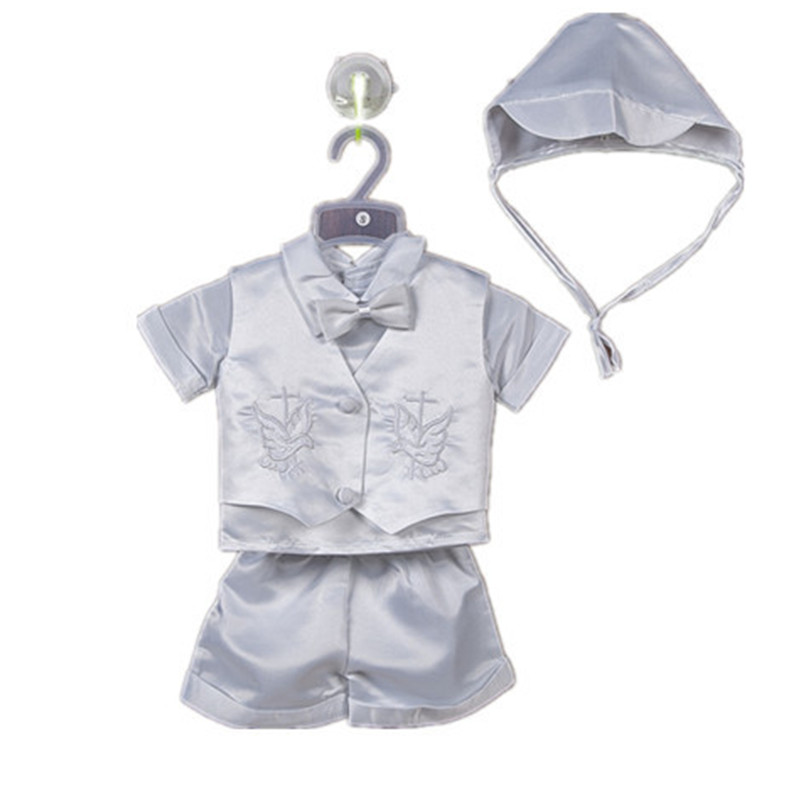 BBWOWLIN 5/pcs Fashion Baby Boy Christening Baptism Infant Satin Vest Sets with Pant, White Bautismo Conjuntos 70684<br>