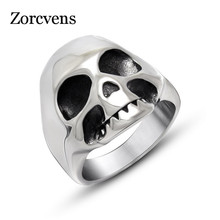 ZORCVENS 2017 New Retro Vintage Stainless Steel Retro Skull Ring Men Jewelry(China)