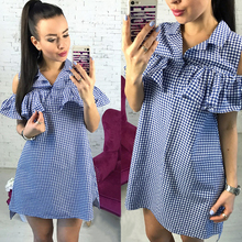 New Arrived 2017 Fashion Houndstooth Summer Dress Woman Ruffles Off Shoulder Plaid Dress Casual Straight Loose Beach Dresses