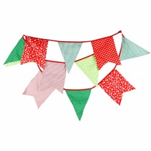12 Flags 3.5m Christmas Star Dots Printed Five and Three Corner Cotton Fabric Banner Bunting Flag Wedding Birthday Decoration(China)