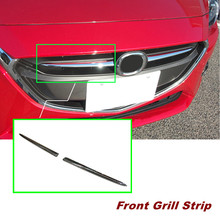 2pcs Chrome Front Grille Grill Frame Cover Trim For Mazda 2 Demio 2015 2016 Accessories Car Styling(China)