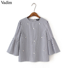 Vadim stylish pearls beading striped shirts flare sleeve cute chic three quarter sleeve blouse ladies fashion casual tops blusas(China)