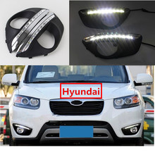 Best Quality For Hyundai /Santa Fe 2010 2011 2012 New Waterproof 12V Car LED DRL Daytime Running Lights With Fog Lamp Hole