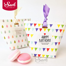 10pcs/lot Simple Colorful Banner and Raindrops Hand Box Cake Box Chocolate Muffin Biscuits Box for Cookie Package Gifts(China)