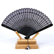 Limited Black Leques Japoneses Ladies Bamboo Folding Hand Fans,Wholesale Personalized Bamboo Fan of Old Wedding Decoration 12(China)