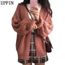 UPPIN 2017 New Autumn Winter Knitted Loose Sweater Women Short Twisted Cardigan Coat Open Female Sweaters Cardigan Women