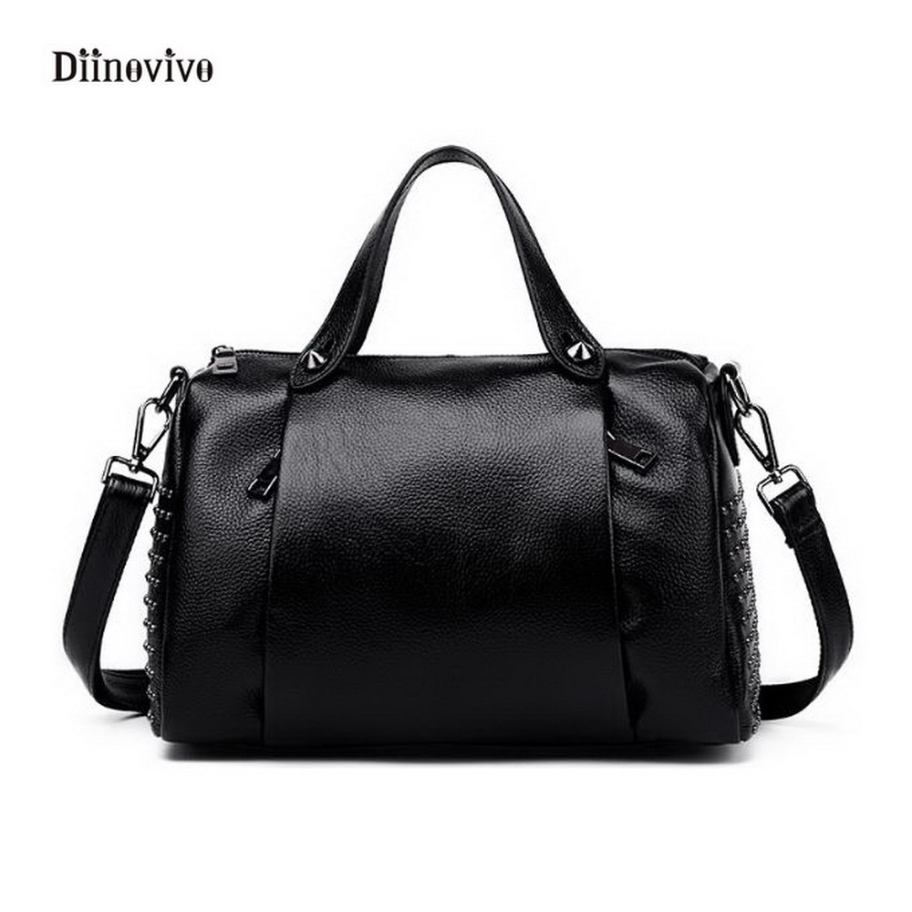 DIINOVIVO Luxury Solid Leather Women Handbag European and Americans Style Punk Shoulder Bag Simple Rivet Casual Totes WHDV0278<br>