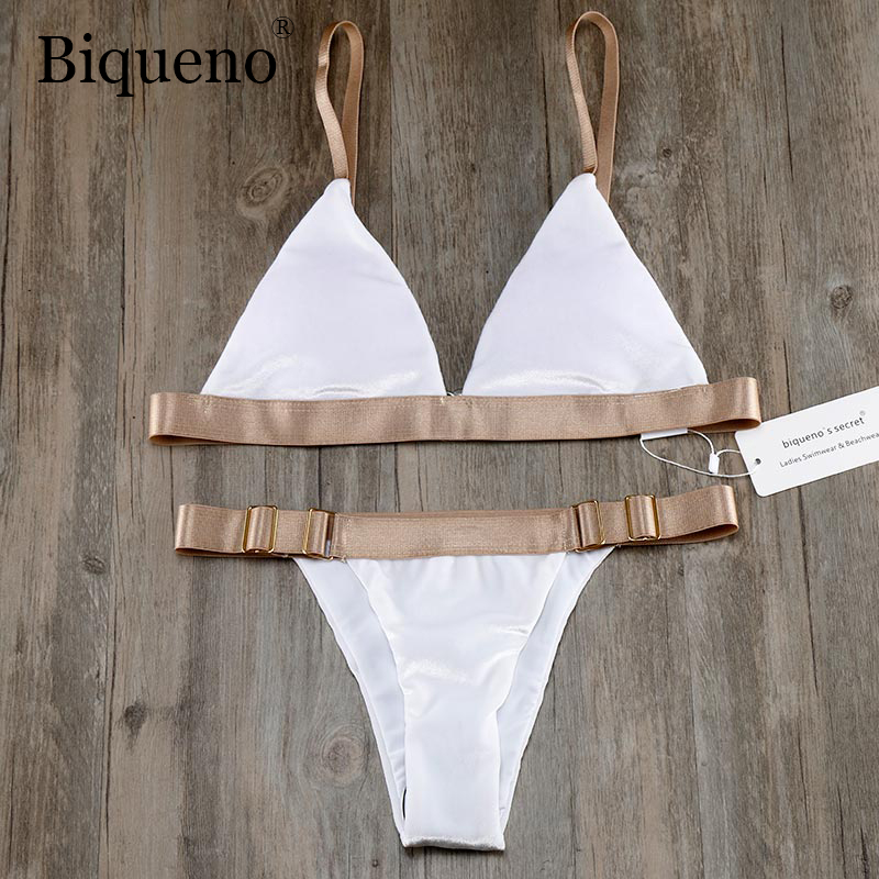 Biqueno`s Secret White Velvet Swimwear Women Bikini 2019 Hot Bandage Brazilian Biquinis Set  Low Waist Bathing Suit Swimsuit