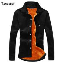 TANGNEST Men Shirt 2017 New Winter Men's Casual Solid Fleece Corduroy Warm Shirt Male Solid Warm Shirt M-3XL MCL1088
