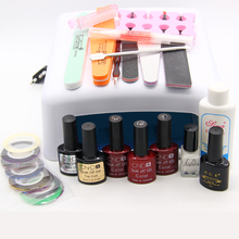 Nail Art Manicure Tools 36W UV Lamp + 3 Color 10ml soak off Gel nail base gel top coat polish with Remover Practice set File kit(China)