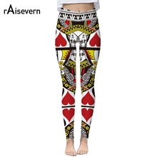 Raisevern New Women Leggings 3D Printed Pokers Leggins Pant Playing Cards HD Print Legging For Woman Dropship(China)