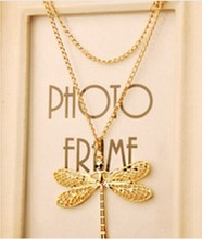 New Fashion Personality Hollow Gold Necklace Lovely Dragonfly Wings Necklace Jewelry 4ND56