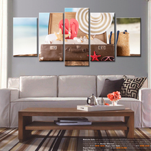 5 Pieces Wall Art Seascape Tourism Sea Shells Straw Modern Fashion Pictures Print on Canvas Painting Home Decor Framed Abstract